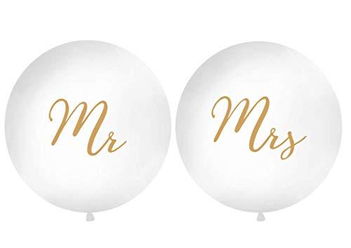 DaLoKu Hochzeit XXL Riesen Luftballon Ø 1m Hochzeitsluftballon Mr & Mrs Just Married Love Dekoration, Farbe: Mr & Mrs weiß/Gold