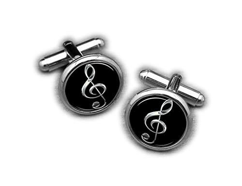 Silber Notenschlüssel Musik Note Manschettenknöpfe, Bass, Musiker personalisiert