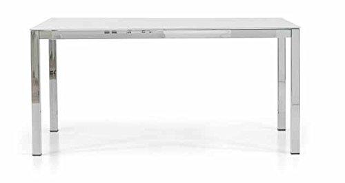 Table rectangulaire acier chromé verre avec 1 allonge de 50 cm