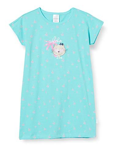 Schiesser Mädchen Cat Zoe 1/2 Nachthemd, Blau (Türkis 807), (Herstellergröße: 128)