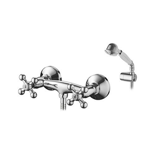 Ibergrif M12052-Lucca, Retro Doppelhebel Duscharmatur Set, Brausebatterie  mit Duschkopf, Duschkopfhalter, und Brauseschlauch, Chrom