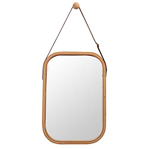 ZRI Bamboo Dekorative Wandspiegel Türspiegel Flurspiegel Spiegel Holzrahmen, Hängespiegel Badspiegel mit Lederband Verstellbarem (Braun, 40.5 x 33cm)