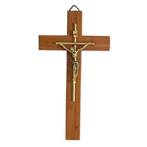 Novia Cruz de madera de cedro y metal para colgar en la pared, marrón, «Jesús Nuestro Salvador» de Novica