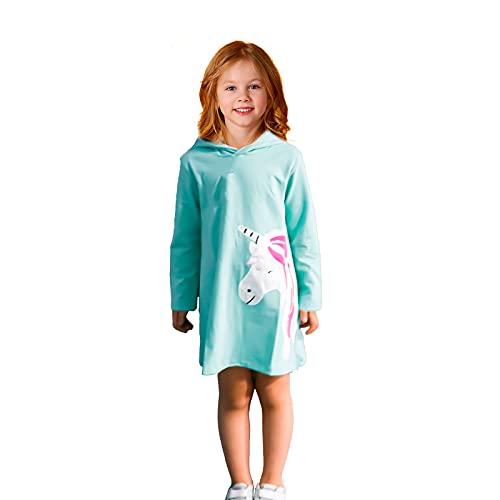 JinBei Vestidos con Capucha Niñas Unicornio Lentejuelas Largo Túnica Pullover Tops Manga Larga Algodón Suéter Casual Verde Otoño Sudadera con Capucha 5-6 años
