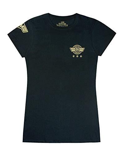 Captain Marvel T-Shirt Shield Logo Womens Ladies Superhero Top en Negro