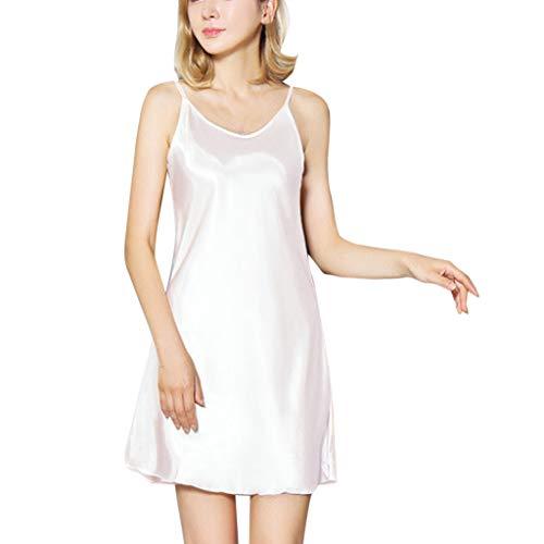 Women's Satin Lace Chemise Lingerie Soft Elastic Babydoll Lingerie Loose Crewneck Underwear Dress White