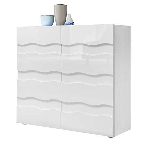 Buffet 2 Portes Relief Blanc laqué Brillant - Ocean - L 121 x l 43 x H 111 - Neuf