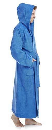 Arus Bademantel-Pacific für Damen und Herren mit Kapuze, extra lang, 100{52442fd1b857cb3d11b60527f8e370da69a622cfed657030a2aa56de9730ab06} Baumwolle Frottee, Hausmantel, Morgenmantel, Saunamantel, Größe: XXL, Farbe: Royalblau