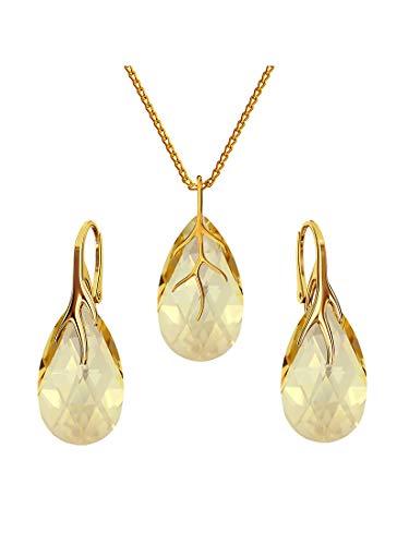 Beforya Paris* * * Almendra * – Plata 925 chapado en oro 24 K – Juego de joyas para mujer * Golden Shadow * – joyas con cristales de Swarovski Elements – Pendientes y collar con caja de regalo BAP39