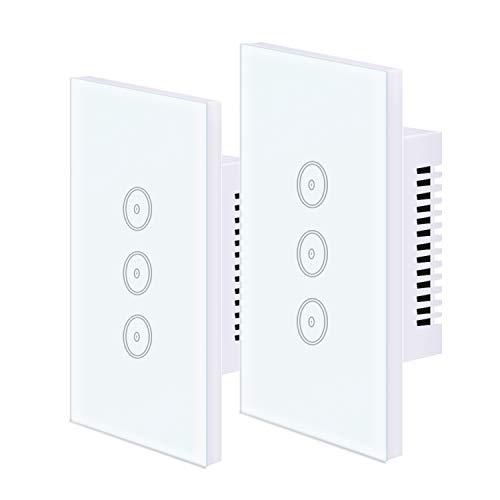 UseeLink Interruttore Della Luce Intelligente WiFi, con Touch Screen in Vetro Temperato, 3 Gang, Funziona con Alexa/Google Home, Telecomando, Timer, Conduttore Neutro Richiesto (2 PCS)