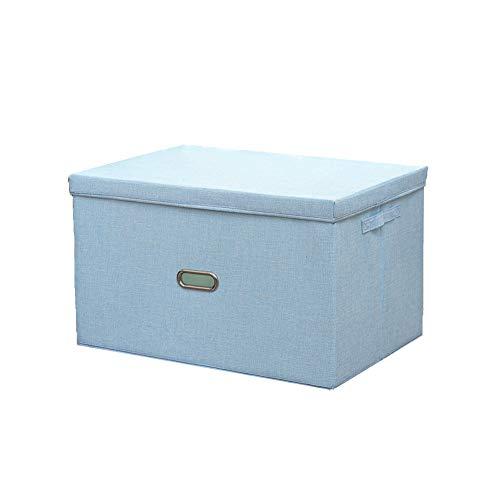 Caja de almacenamiento de lino de algodón, caja de almacenamiento plegable con tapa/adecuado para el almacenamiento de ropa, edredones, juguetes y libros/lavable, azul cielo, XL
