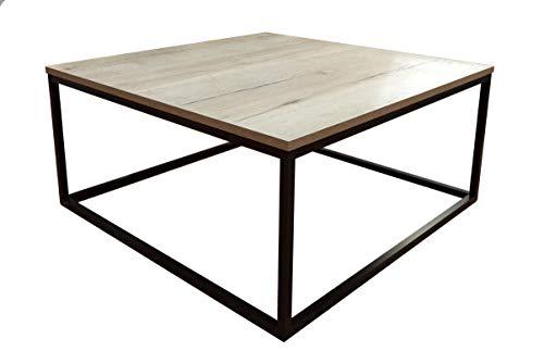Bricoretto. Mesa de Centro salón Mod: PARISO. Madera. Cuadrada 80x80x42 cm. Estilo Industrial/Vintage