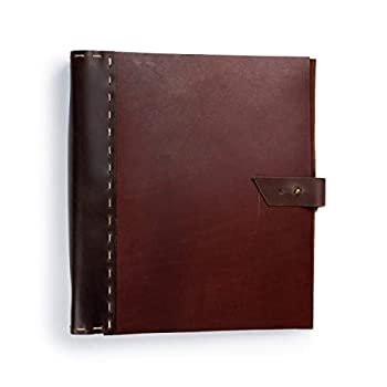 Rustic Leather Binder Handmade by Rustico in The USA Handsewn,Thick Rich Top-Grain Leather 3 Ring Spine 1.5  Rings Protect and Store Important documents  Thick Cinnamon & Dark Brown