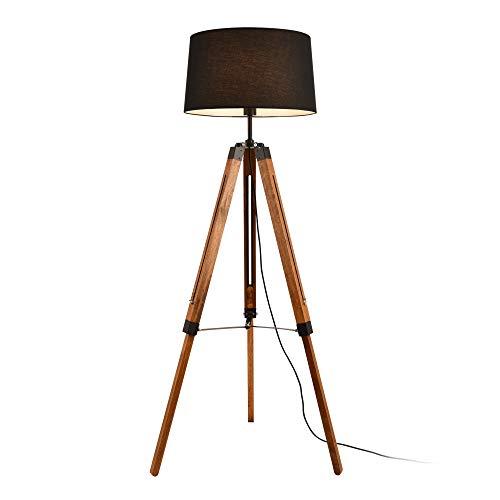 lux.pro Stehleuchte 'Lagos' 144cm E27 max. 60W Stehlampe Design Standleuchte Industrial Stand Lampe Metall Holz Schwarz mit Schnurzwischenschalter Innenbeleuchtung Tripod Dreifuß
