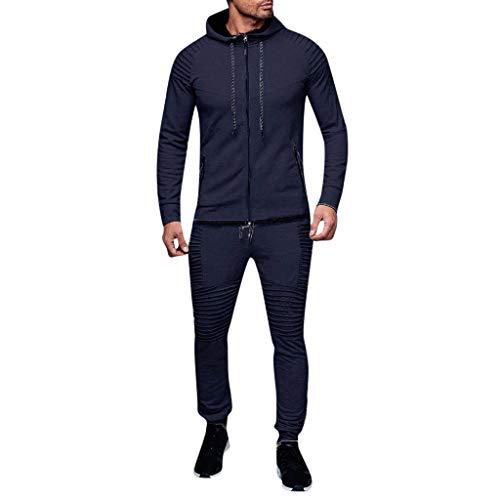 AABBQ Herren Jogging Anzug Trainingsanzug Sportanzug, Hoodie-Sporthose   Jogging-Anzug   Trainings-Anzug   Jogging-Hose (B - Marine, M)