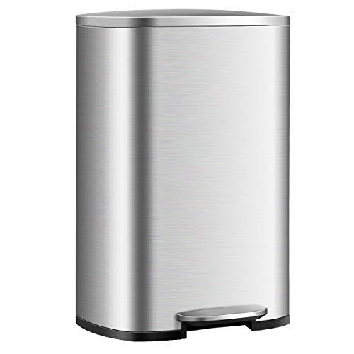 COSTWAY Mülleimer 50L, Treteimer aus Edelstahl, Abfalleimer mit Deckel, Tragegriff und Inneneimer, für Küche Wohnzimmer Büro, silberfarben