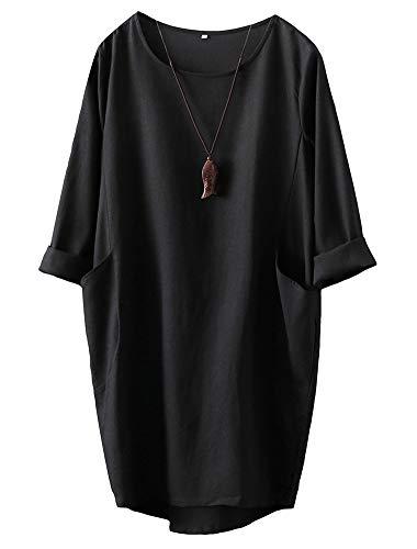 FTCayanz Damska sukienka tunika, długa sukienka lniana, elegancka sukienka z długim rękawem, mini sukienka