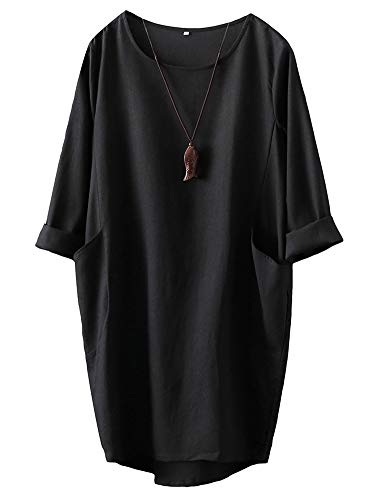 FTCayanz Damen T-Shirt Tunika Kleid Langes Leinenkleider Elegant Langarm Blusenkleid Mini Kleider Schwarz XL