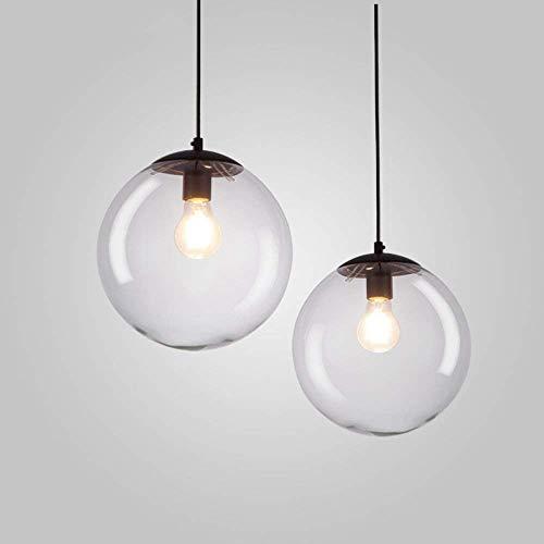 XZ Mini lampadari di vetro rotondi alla moda, lampada da soffitto a testa singola/tripla in ferro nordico Soggiorno creativo Studio Sala da pranzo Lampadario Lampada a sospensione moderna,20 cm