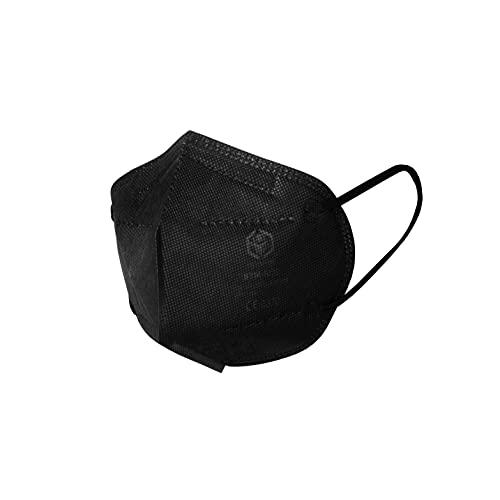 STM 6020 Zertifizierte FFP2 Masken Faltbar - 20 Stück einzelverpackt im PE-Beutel - Staubmaske Atemmaske 5-lagige Mundmaske (Schwarz)