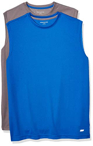 Amazon Essentials Men's 2-Pack Performance Tech Muscle Tank, Medium Grey/Royal Blue, X-Large