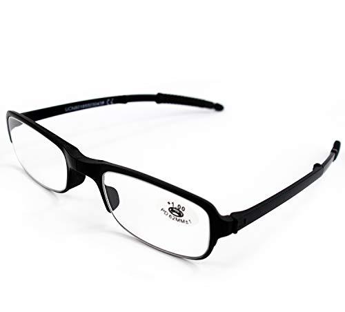 Klappbare Lesebrille Vista Cansada Presbicia, Dioptrien Graduierung +1.00 bis +4.00, Brille für Damen und Herren Unisex mit Feinrahmen, Scharniere Standard, für Lesen, Zaun 1.5 x Schwarz