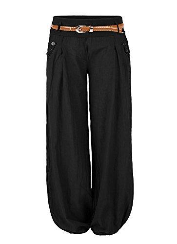 Cindeyar Damen Haremshose Elegant Winter Pumphose Lange Leinen Hose mit Gürtel Aladin Pants,1 Hosen+1 Gürtel (L, Schwarz)