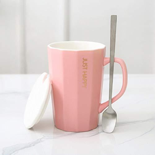 XUEQQ Keramik-Cup einfache Keramik-Tasse mit Decklöffel Home Mug Cup Büro-Kaffeemaschine