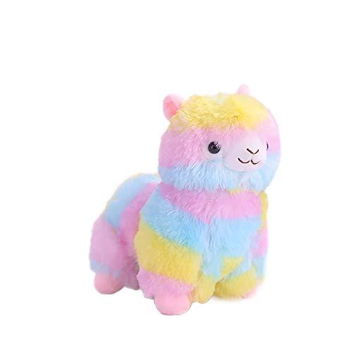Xiton 1pc Rainbow Plush Alpaca Doll Adorable Soft Stuffed Animals Toy Fuzzy Mini Animal Toys Home Bedroom Dekorationsgeschenk für Kinder, 20 cm/7,9 Zoll