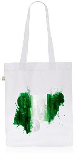 CottonCloud Nigeria Baumwoll-Beutel Einkaufs-Tasche Afrika Flagge WM EM Sport Festival Fahne Uni Bag, Farbe:Weiß