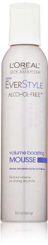 L'Oreal Paris EverStyle Volume Boosting Mousse, Alcohol-Free, 8.0 Fluid Ounce