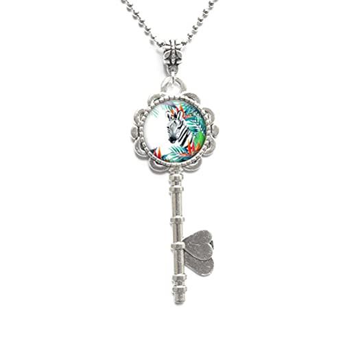 Collar de llave de caballo, sobrina regalo para joyería zoóloga, regalo de plata con encanto animal, joyería de caballo-#140