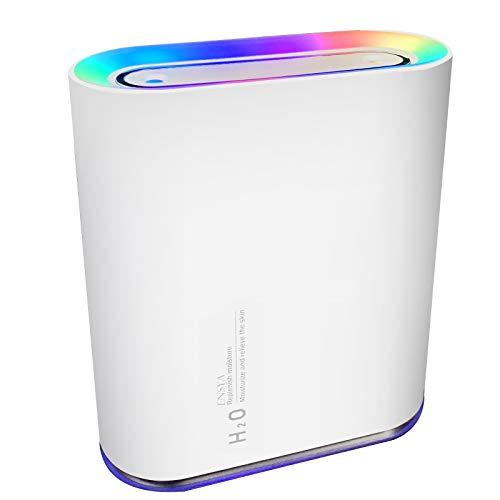 「2020年冬最新型」加湿器 卓上 小型 部屋 オフィス 大容量 2種類噴霧モード(1,000ml) 最大24時間使用可能 乾燥対策 USB 充電式 LEDランプ付き 日本語取扱説明書付き ホワイトENSYA