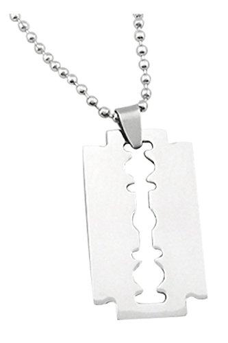 TOOGOO(R) Maenner Edelstahl Rasierklinge- Anhaenger Ketten Halskette Silber