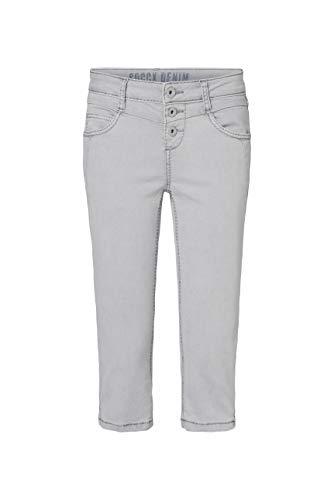 SOCCX Damen Coloured Capri Jeans LY:IA mit Knopfleiste