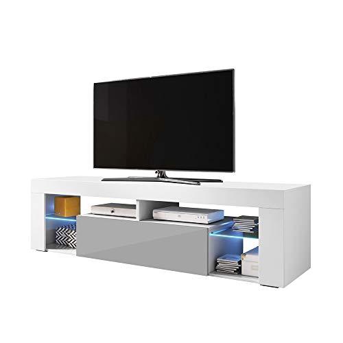 Selsey Bianko – TV Lowboard / TV Schrank, Weiß Matt / Grau Hochglanz, mit LED-Beleuchtung, 140 x 35 x 50,6 cm