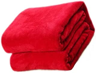 BEESCLOVER 100 * 150cm Sofa/air/Bedding Throw Solid Color and Double Faced Travel Flannel Blanket red as Picture Show One Size