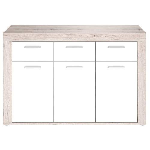 Unbekannt Sideboard Zumba - Sandeiche-Weiß - 135,4 cm Breit