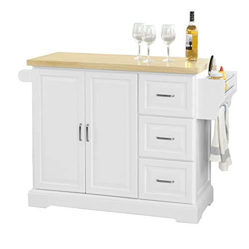 SoBuy FKW41-WN Keukentrolley - uitbreidbaar werkblad - Opbergruimte keukenwagen Credenta, Mobiele keukenkast,Roestvrije stalen tafelblad - Wit