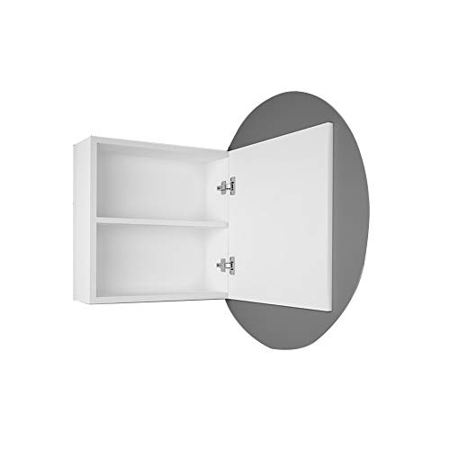 Bathroom mirror-Jack Mehrschichtiger Spiegelschrank Aus Massivem Holz Mit Rundem Glasspiegel Wc Wandbehang Regallager Rasierspiegel Box