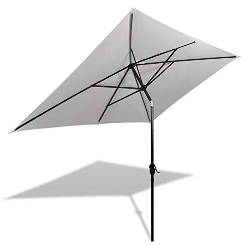 Estink Paraguas rectangular de 2 x 3 m y 2,4 m para jardín, de fibra de poliéster, con protección UV y función de inclinación, color blanco arena