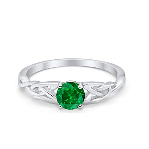Blue Apple Co. Celtic Trinity Ring Solid 925 Sterling Silver Wedding Engagement Promise Ring SolitaireSimulated Green Emerald Cubic Zirconia Size-8