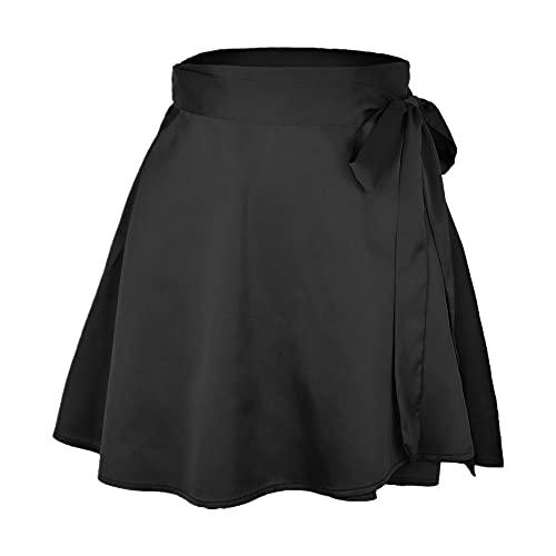 N\P Cintura alta Mini Sexy Satén Falda Mujer Verano Elegan