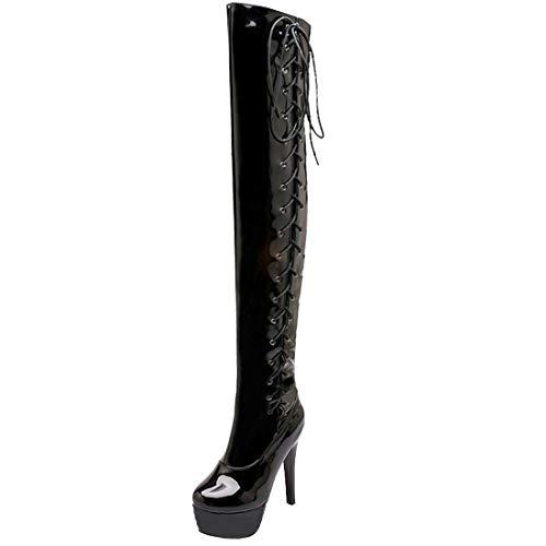 AIMODOR Damen Lack Overknee Stiefel Schnürung High Heels Stilettos Plateau Lackstiefel schwarz 39
