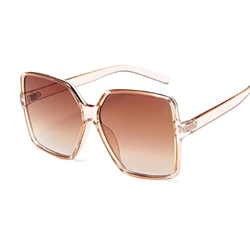 Gafas De Sol Mujeres Gafas De Sol De Gran Tamaño Cuadrado Negro Mujeres Colorido Gafas De Sol Espejo Hembra Unisex Gradiente Hip Hop Shades-Champagne