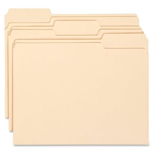 Smead WaterShed/CutLess File Folder, 1/3-Cut Tab, Letter Size, Manila, 100 Per Box (10343)
