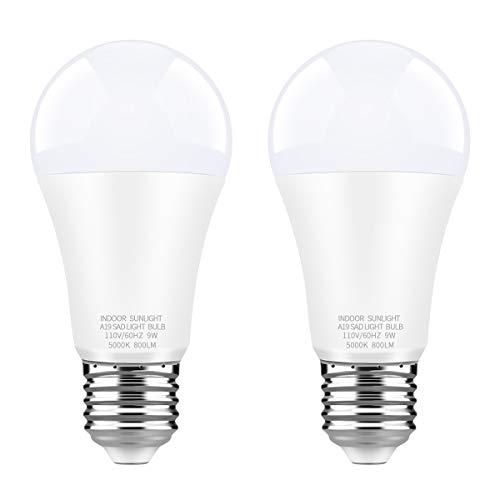 WhitePoplar LED Full Spectrum Light Bulb Light Therapy Lamp Bulb Dimmable Natrual Sunlight Bulb Cool White 9W 5000K 2 Pack