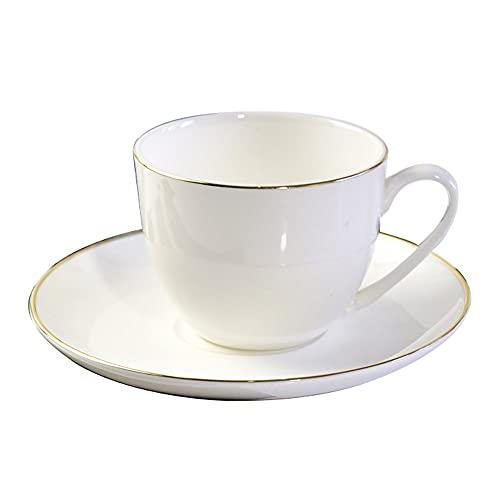 SXXYTCWL Taza de café y platillo Set Bone China Taza de té Rojo Taza de Latte Copa de café Cacao de Cacao Caliente Apto para Oficina Restaurante Hotel Cafe