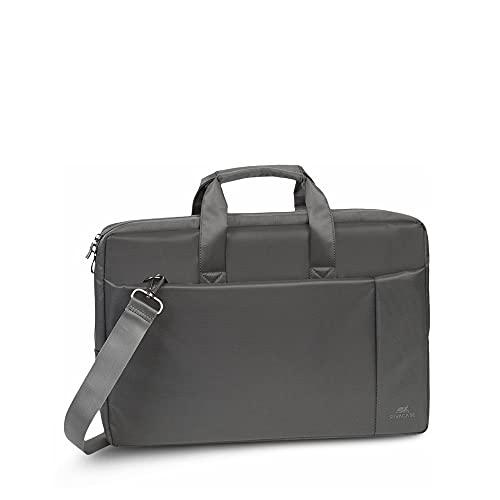 RIVACASE Laptoptasche für Notebooks bis 17,3 Zoll - Hochwertige Schultertasche mit zusätzlich gepolstertem Laptopfach - Hoher Tragekomfort durch gepolsterte Tragegriffe / 8251 Grau
