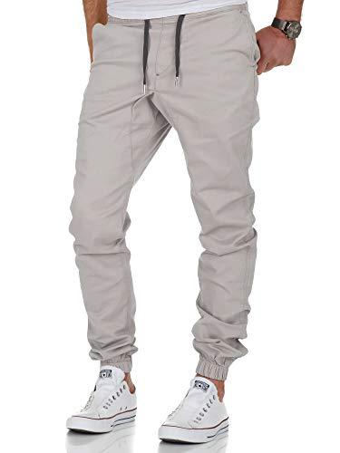 Amaci&Sons Herren Stretch Jogger Basic Chino Jeans Hose Cargo 7002 Hellgrau W32